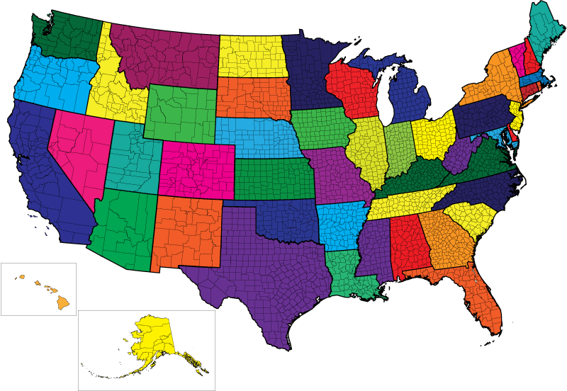 International Princess Registry - Map of the us states without names