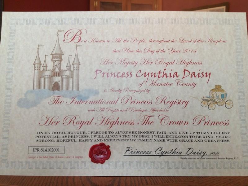 International Princess Registry Official Certificate